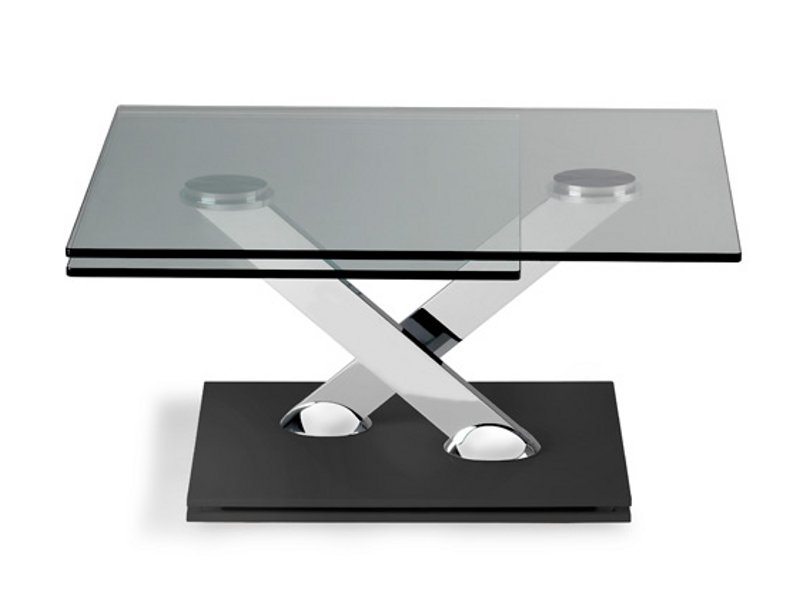 Square coffee table tea time by roche bobois design for Table verre extensible roche bobois