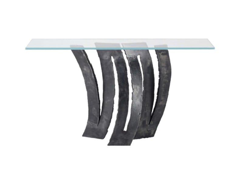 Glass console table fleur de fer les contemporains - Tables de chevet roche bobois ...