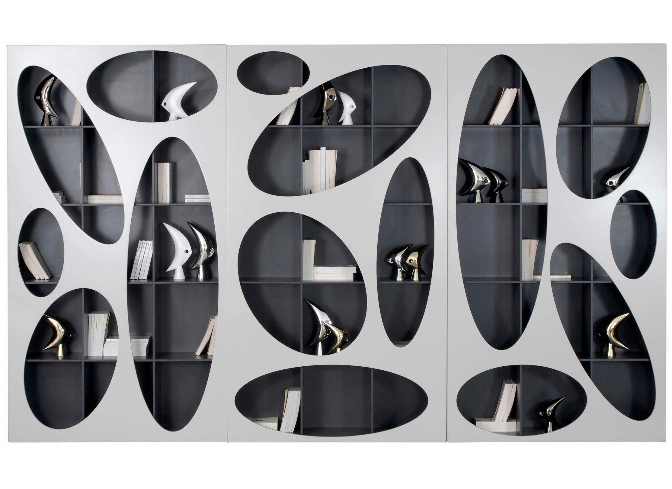 Modular wall mounted bookcase denia by roche bobois design for Libreria roche bobois