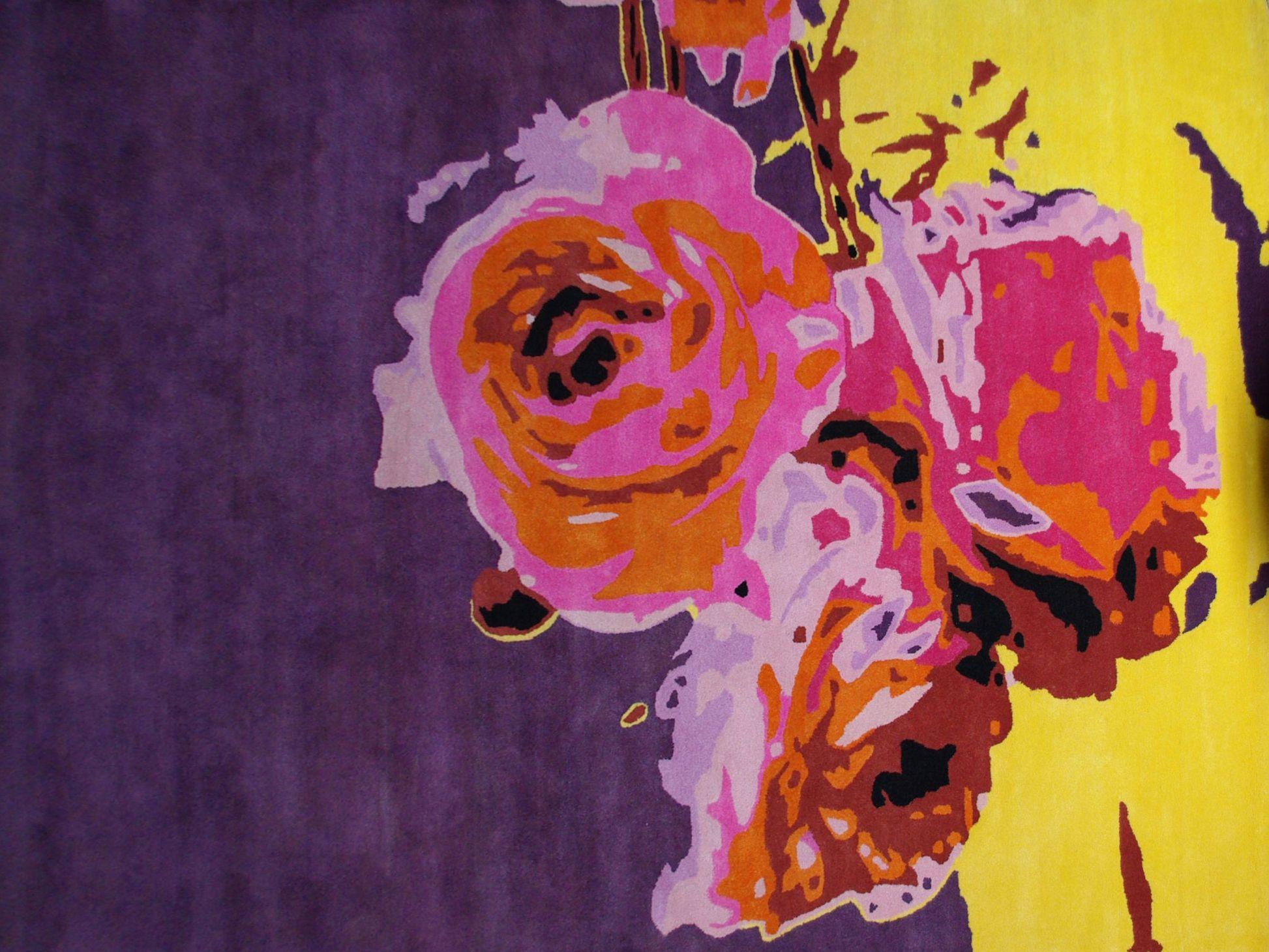 Tapis fleur en laine bouquet de trois collection les contemporains by roche - Tapis contemporain roche bobois ...