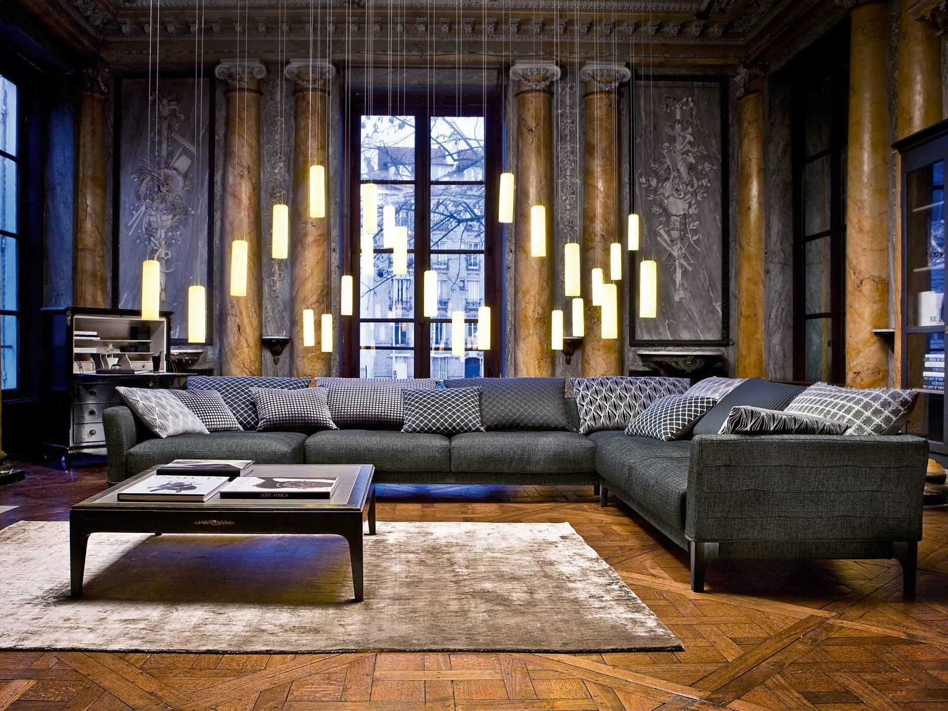 sectional fabric sofa confession nouveaux classiques collection by roche bobois design studio memo. Black Bedroom Furniture Sets. Home Design Ideas