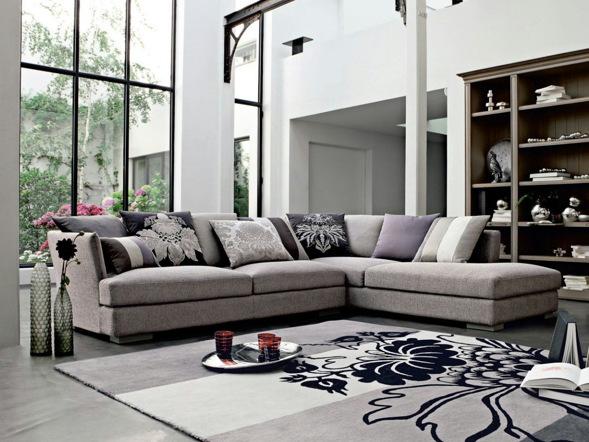 sectional fabric sofa loquence nouveaux classiques. Black Bedroom Furniture Sets. Home Design Ideas
