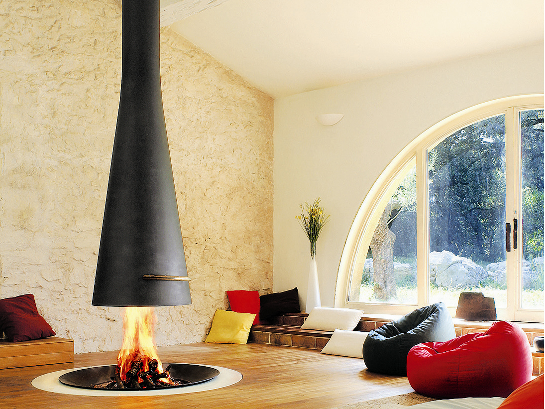 Central telescopic fireplace filiofocus 2000 t lescopique by focus design dominique imbert - Incredible central fireplace ideas ...