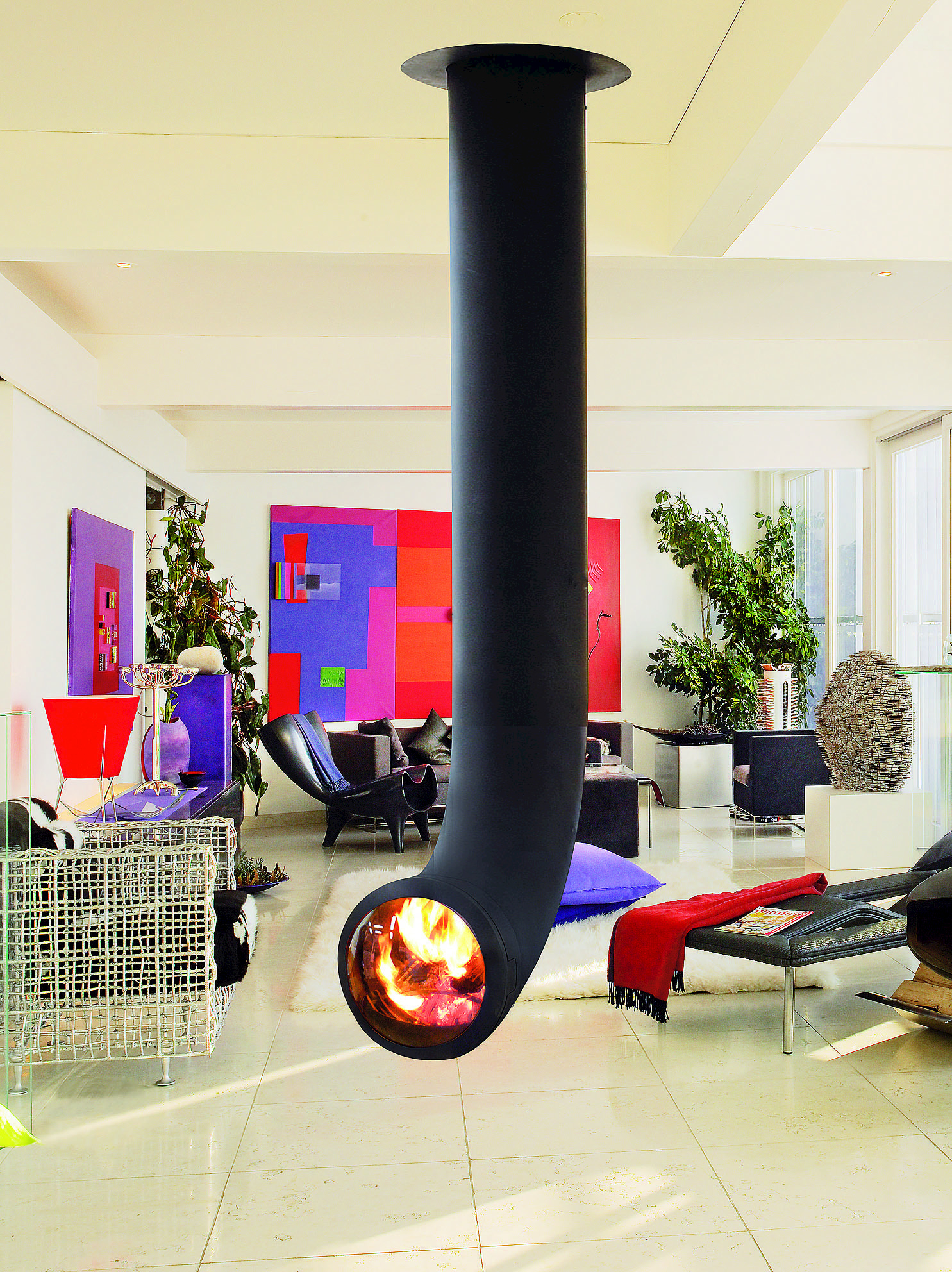 Central hanging steel fireplace renzofocus by focus for Central fireplace