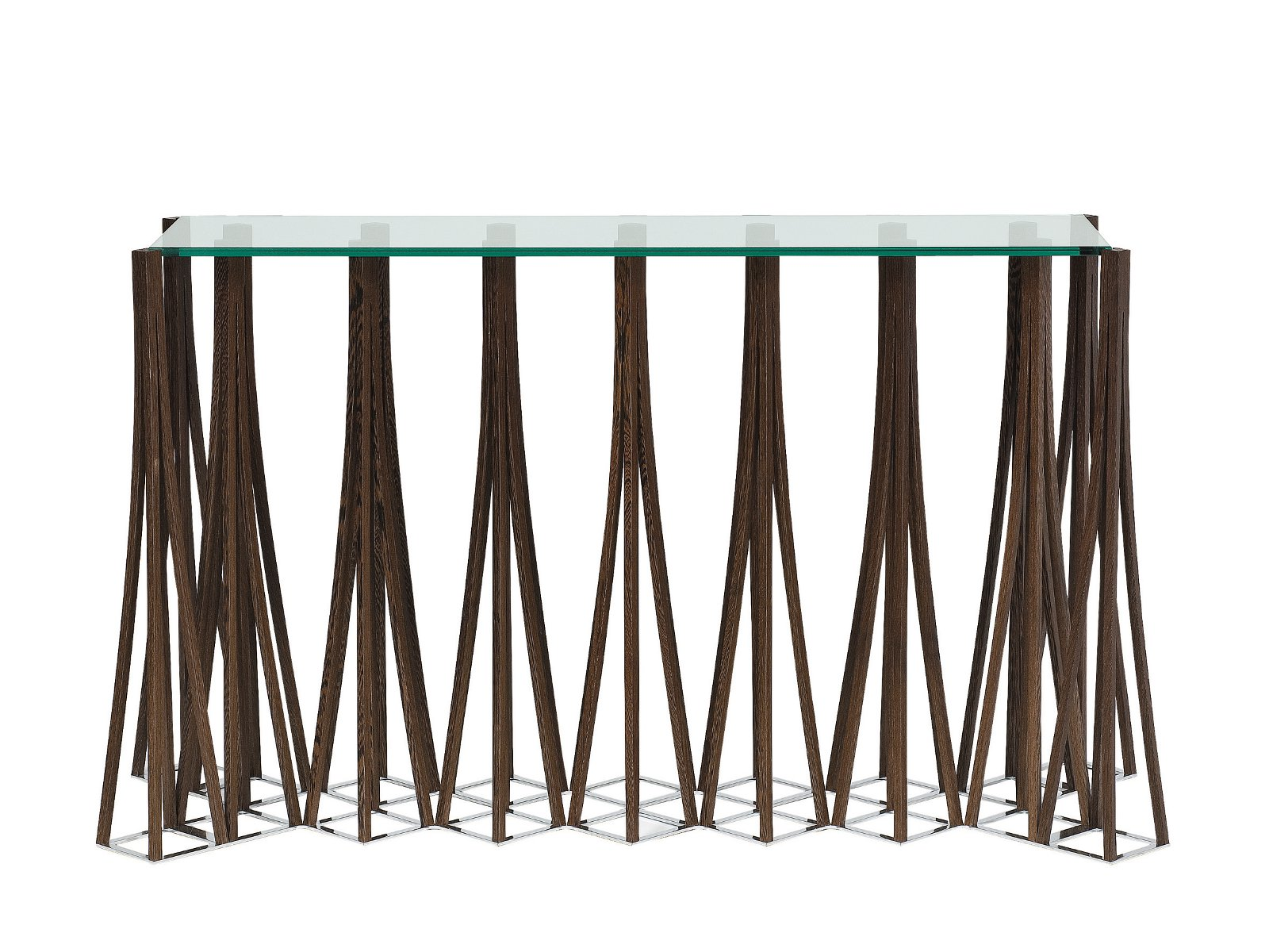Glass console table dukmi les contemporains collection by for Tables de salon roche bobois