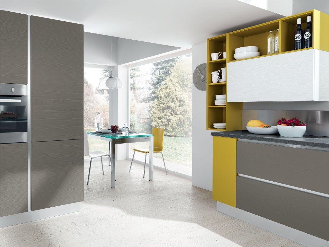 Cucina componibile in legno senza maniglie collezione - Cucina senza maniglie ...