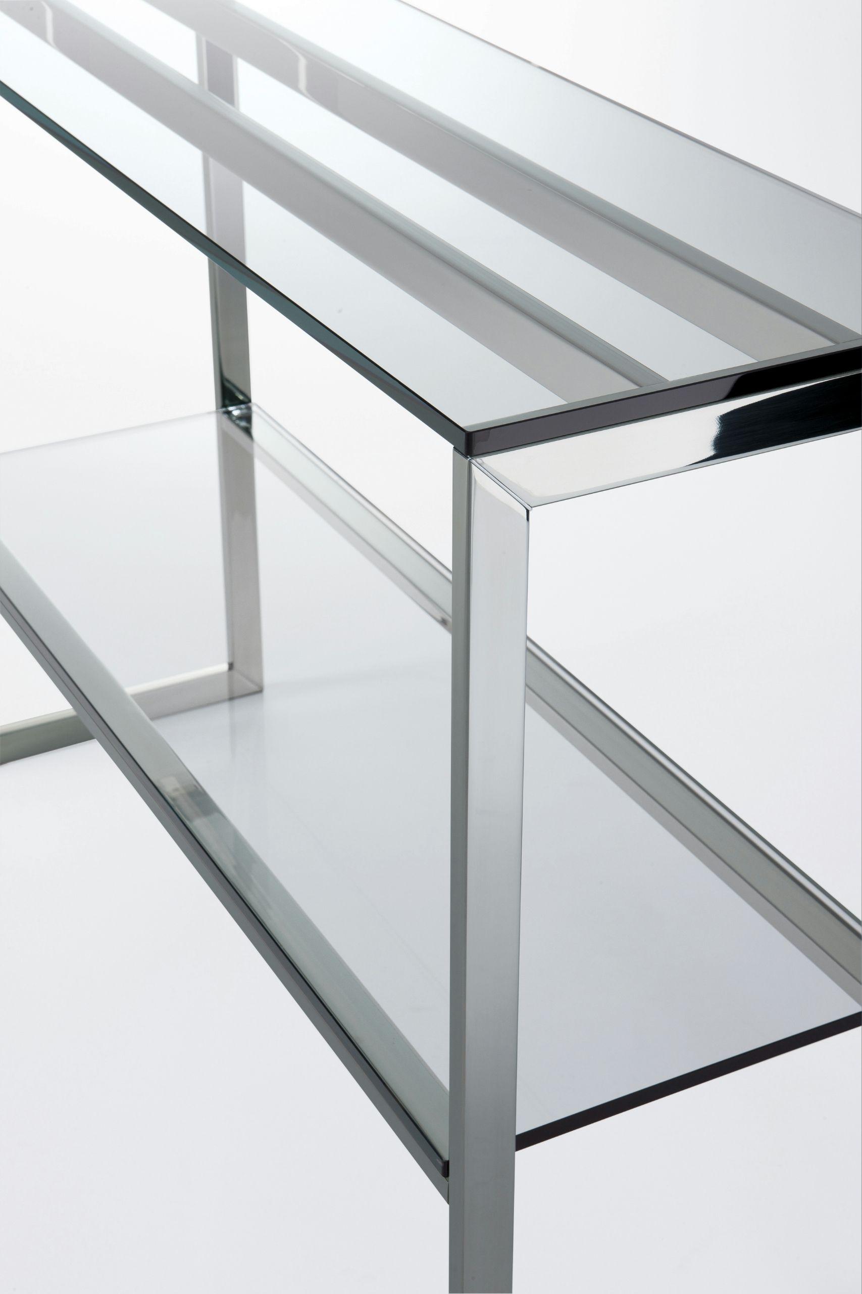 table console rectangulaire en acier inoxydable et cristal. Black Bedroom Furniture Sets. Home Design Ideas
