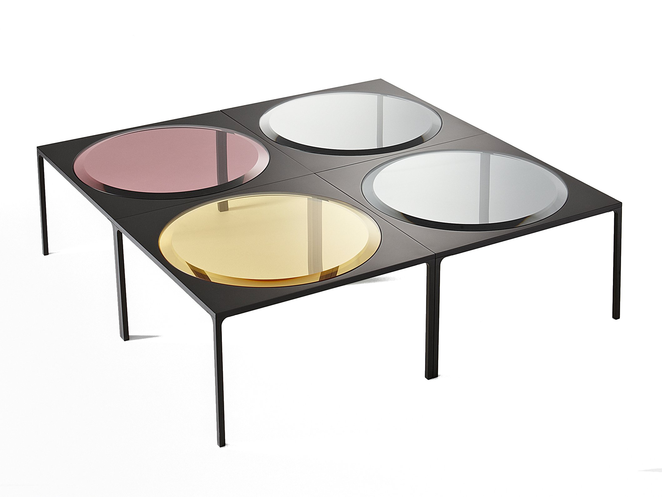Low square coffee table rulli by gallotti radice design luca nichetto Low coffee table square