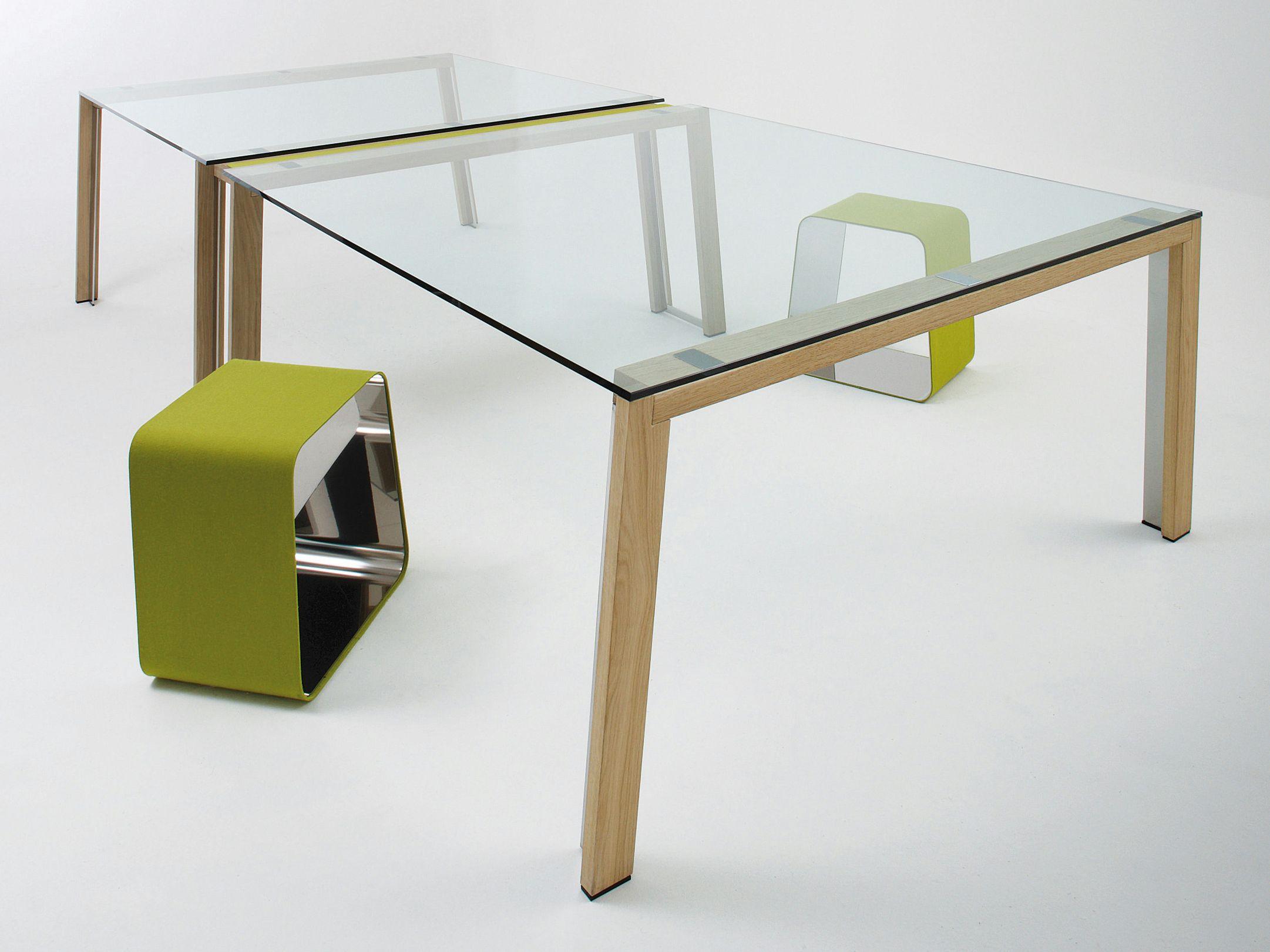 Scrivania rettangolare in cristallo wgs double by gallotti for Scrivania cristallo design