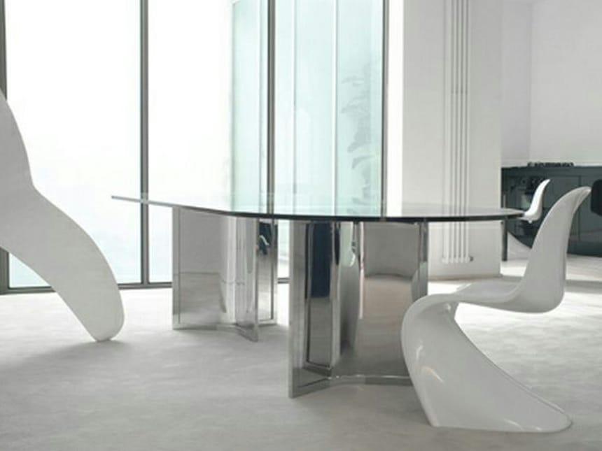 Tavolo ovale in cristallo RAJ by Gallotti&Radice design Ricardo Bello Dias