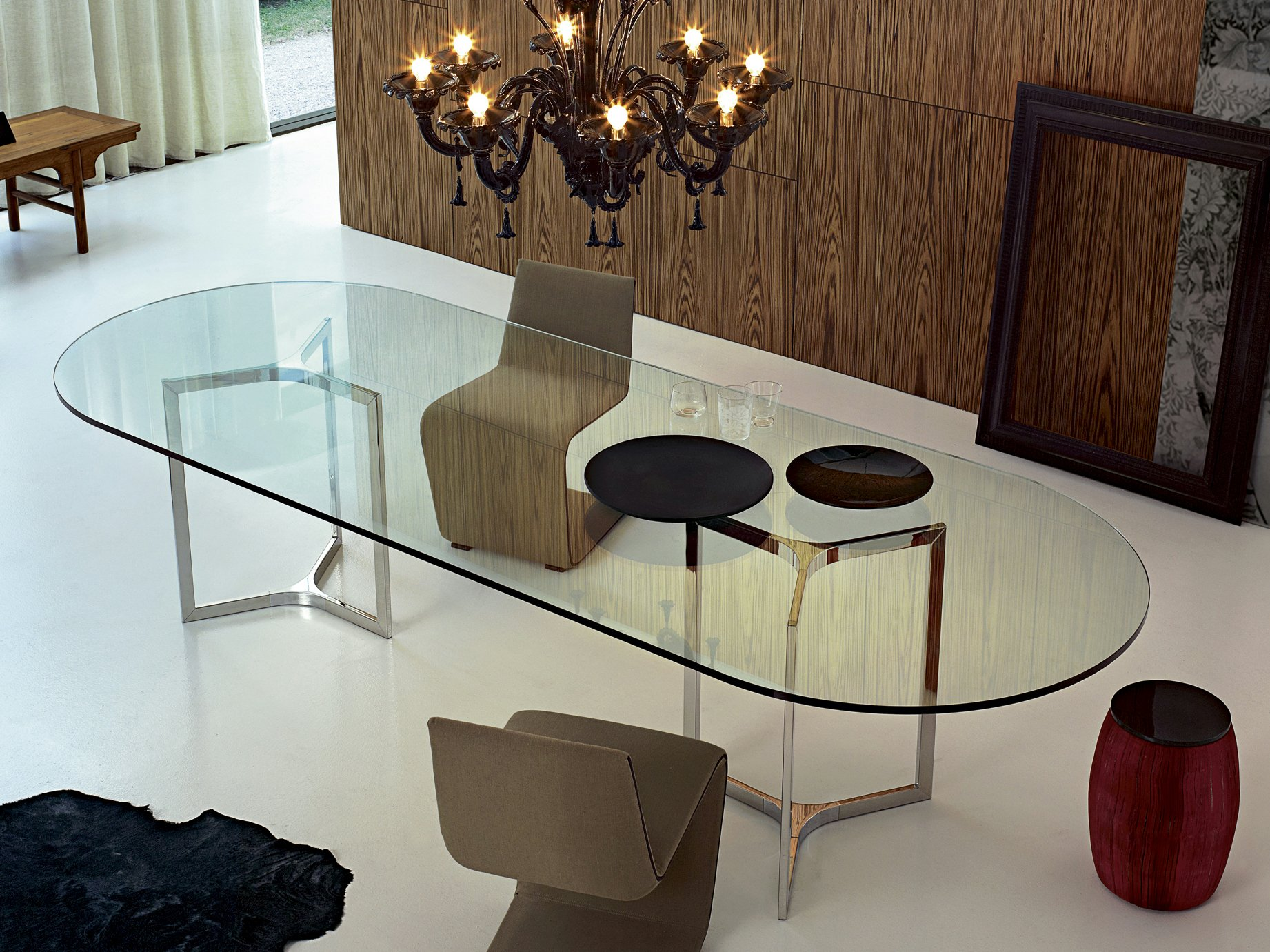Table manger de salon ovale en acier inoxydable raj light by gallotti r - Table de salon a manger ...