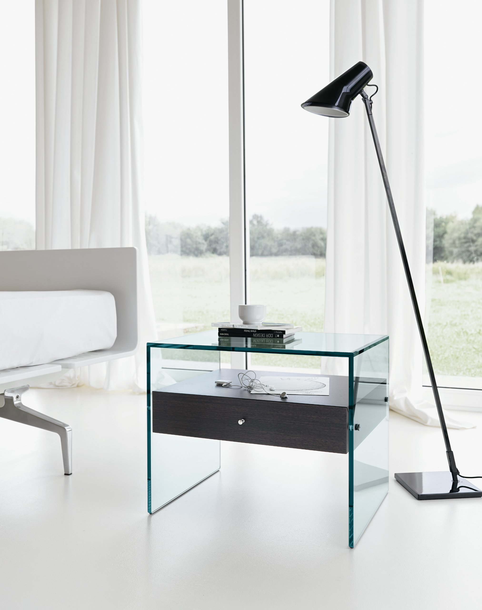 glass bedside table secret by t d tonelli design. Black Bedroom Furniture Sets. Home Design Ideas