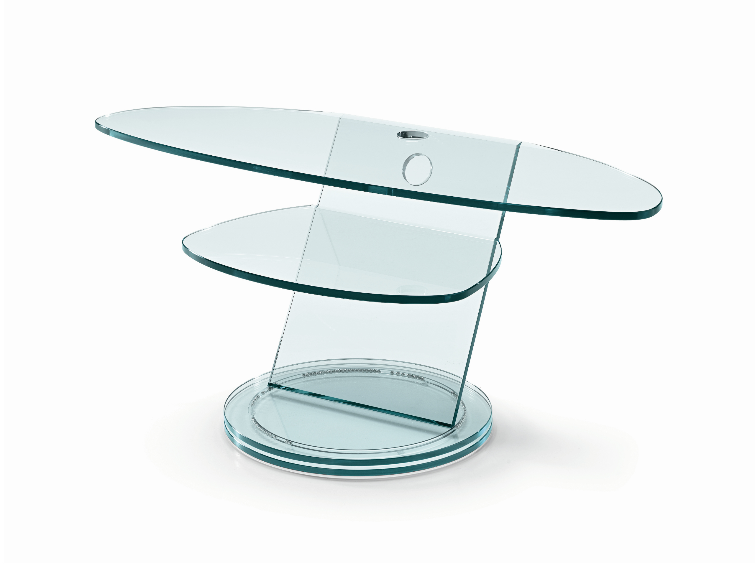 Meuble tv en verre scenario by t d tonelli design design for Table tv en verre
