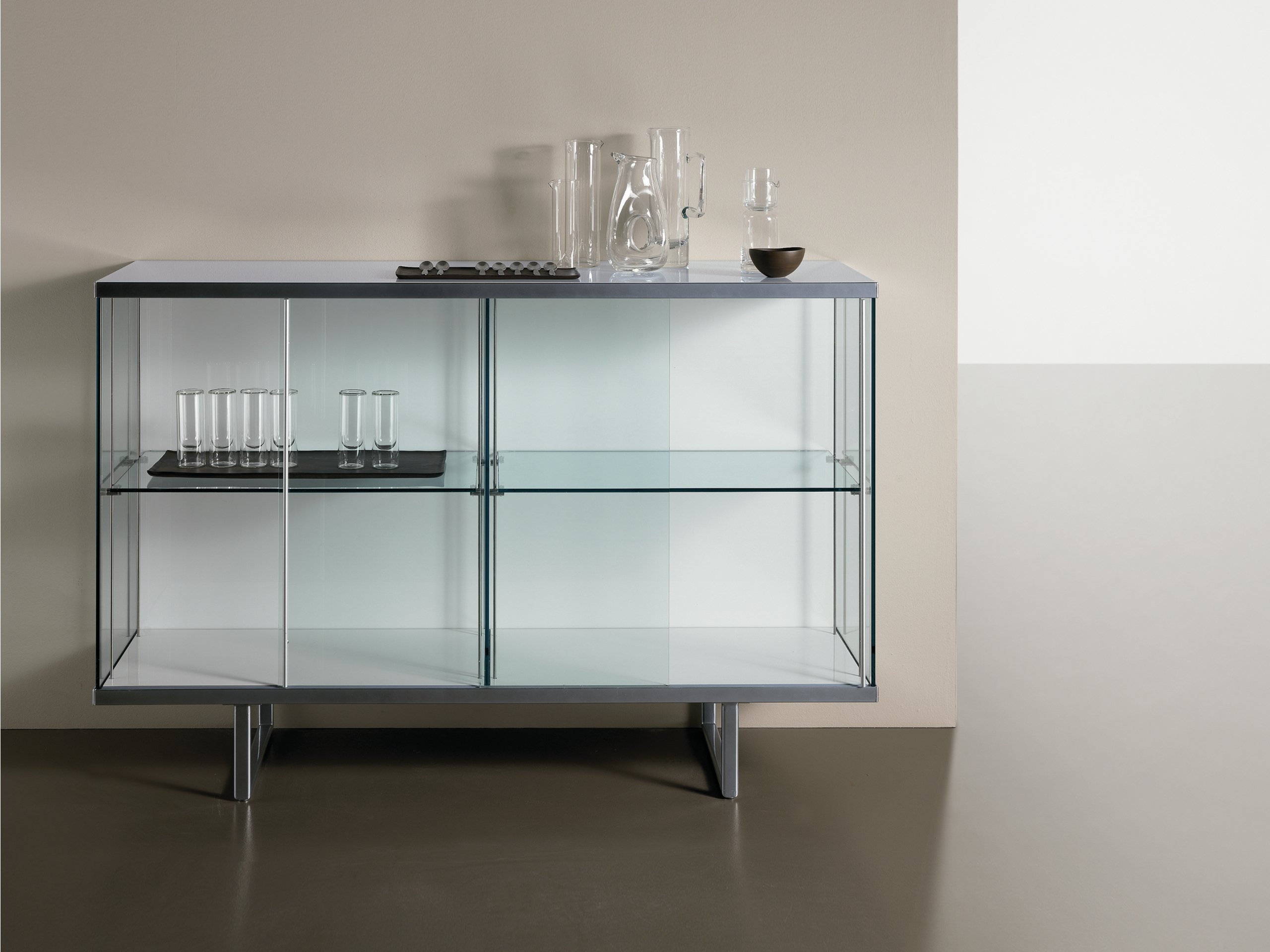 Glass sideboard with sliding doors broadway high by t d for Sideboard glas