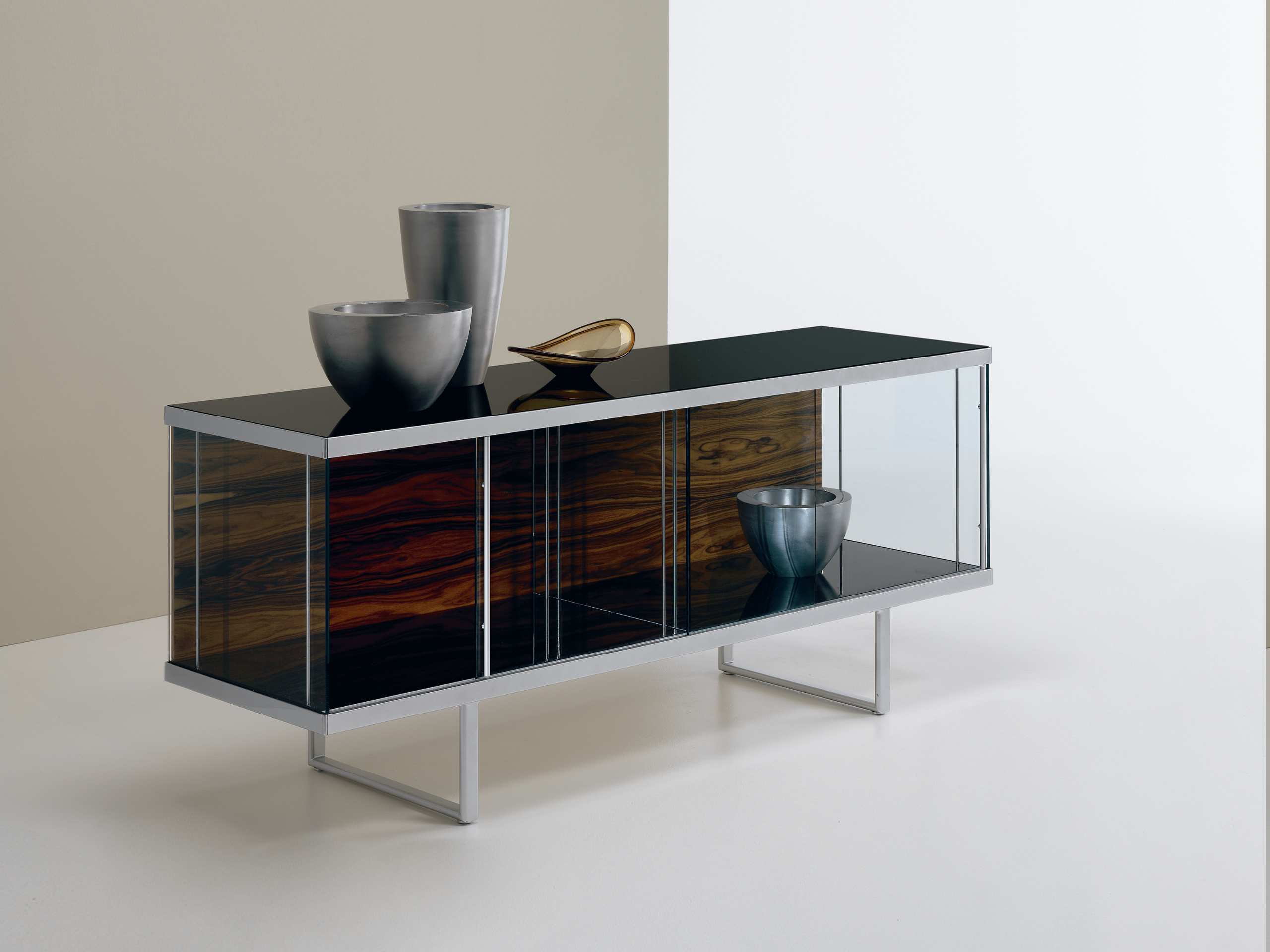 Glass sideboard with sliding doors broadway low broadway for Sideboard glas