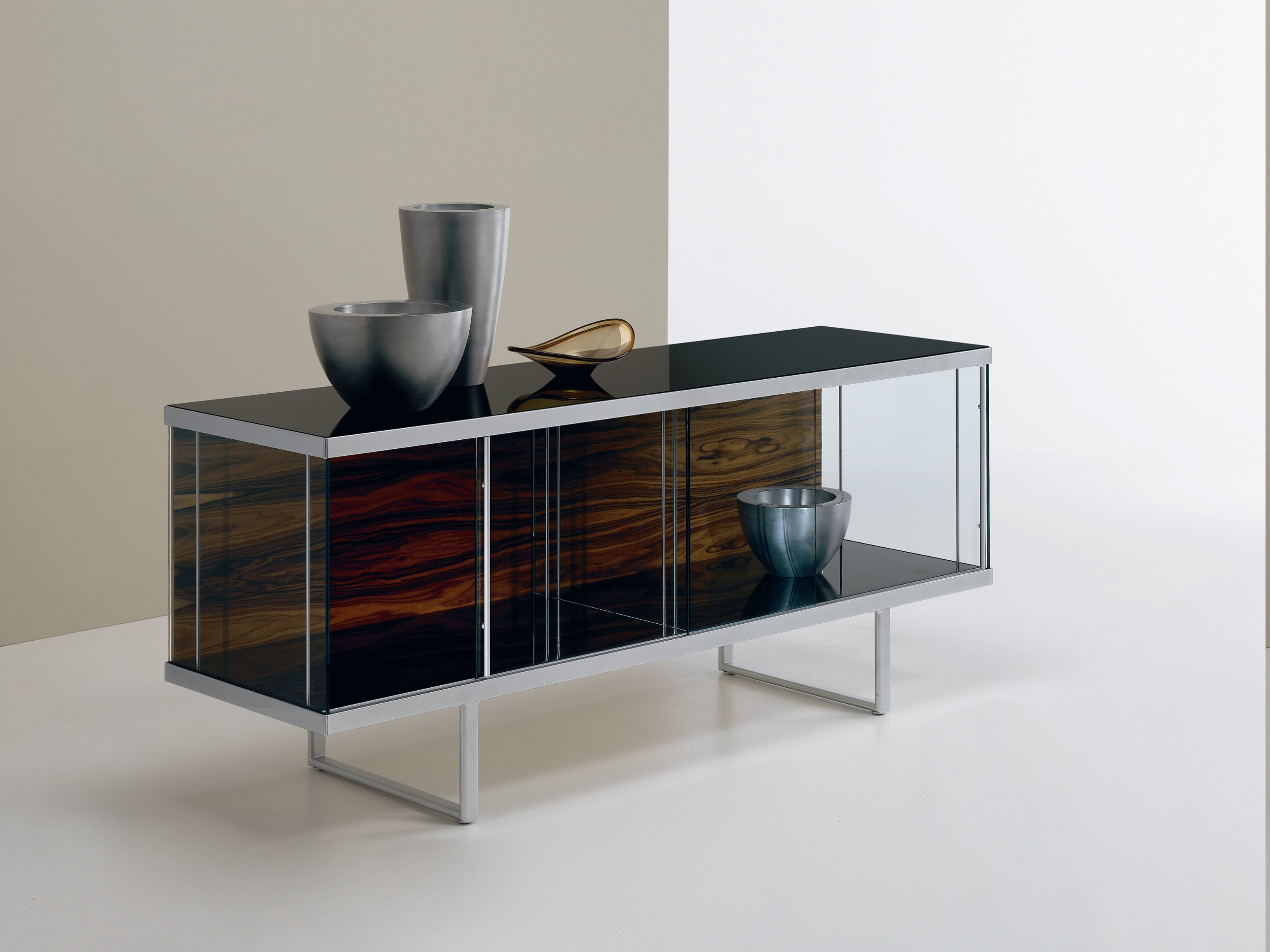 glass sideboard with sliding doors broadway low broadway. Black Bedroom Furniture Sets. Home Design Ideas