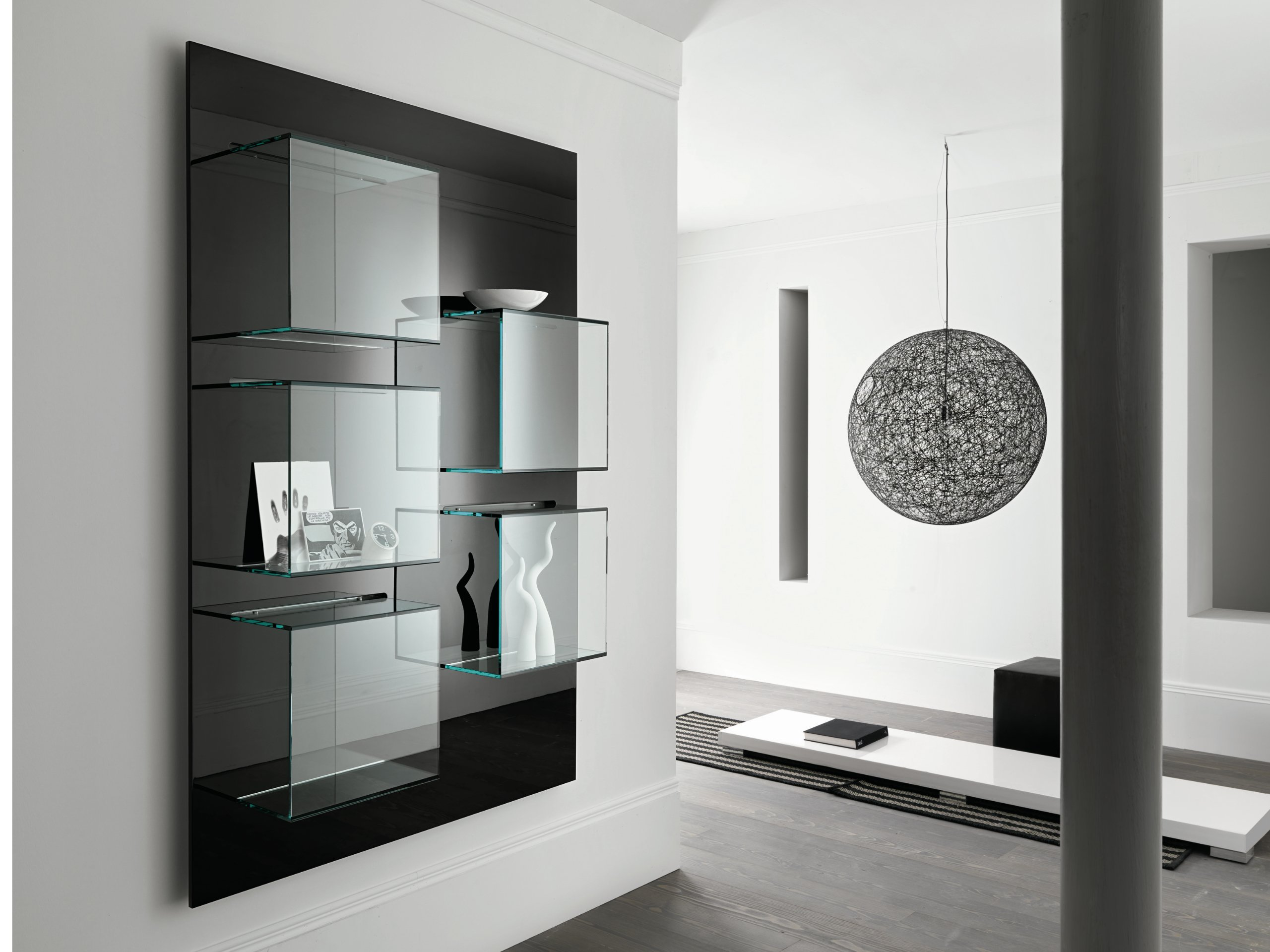 biblioth que murale en verre dazibao by t d tonelli. Black Bedroom Furniture Sets. Home Design Ideas