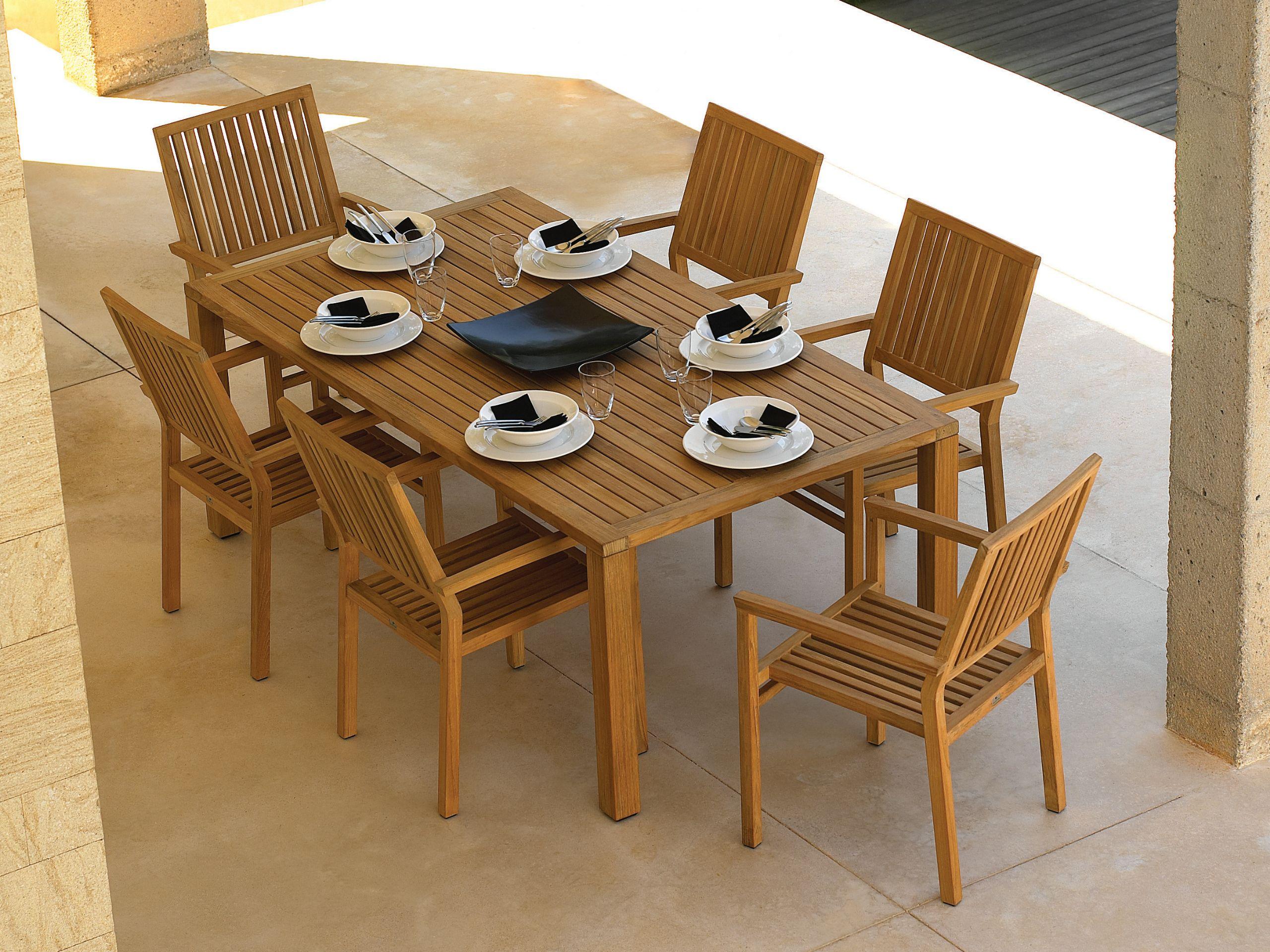 Square mesa de jard n rectangular by gloster dise o povl - Mesas de madera de jardin ...