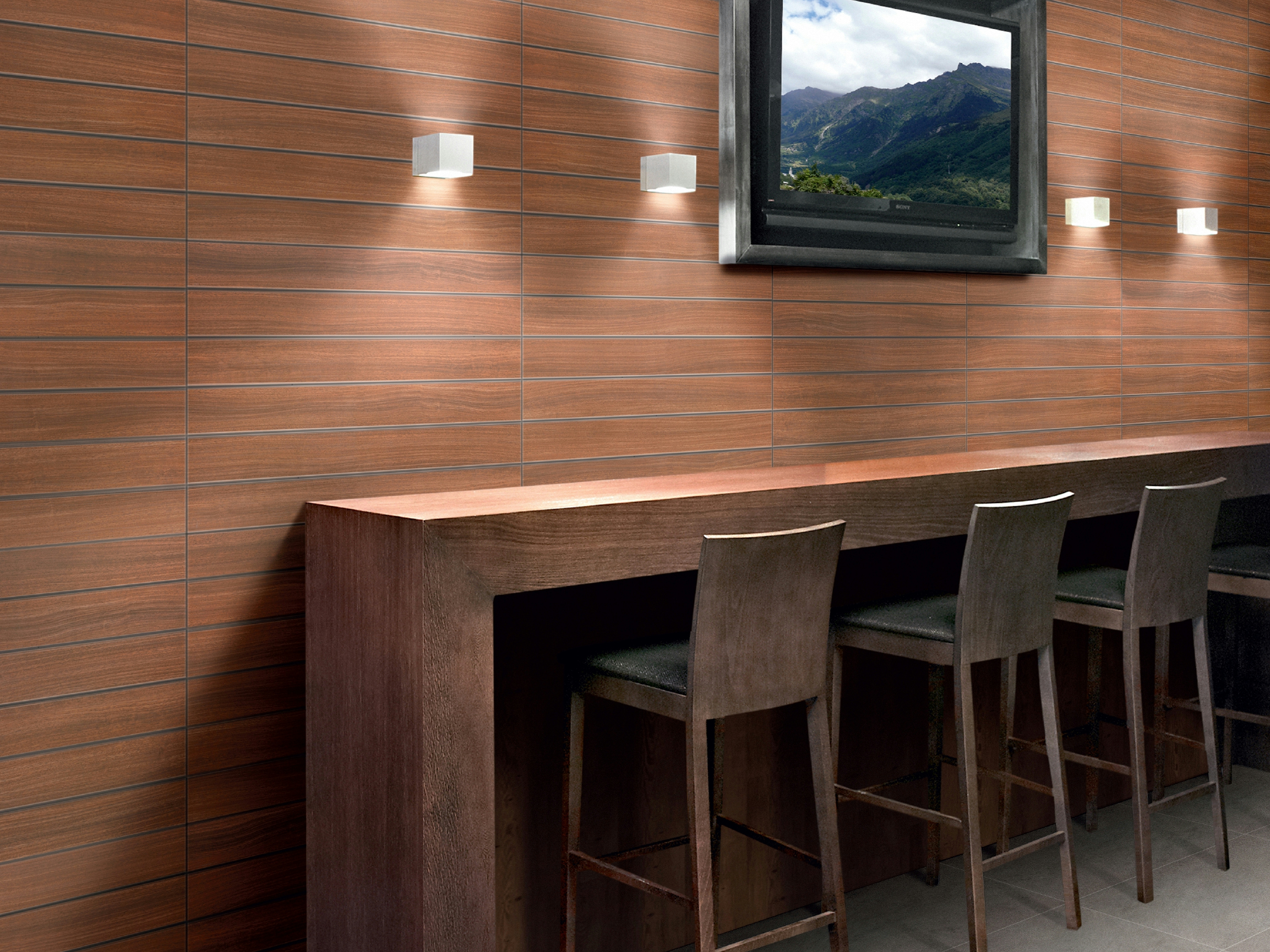Revestimiento de pared suelo de gres porcel nico imitaci n - Revestir pared con madera ...