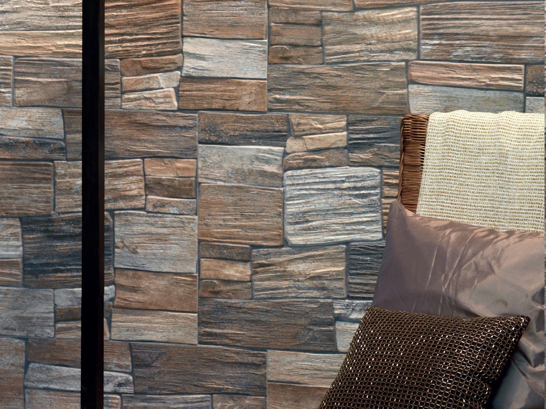 Revestimiento de pared de gres porcel nico imitaci n - Revestimiento de paredes imitacion piedra ...