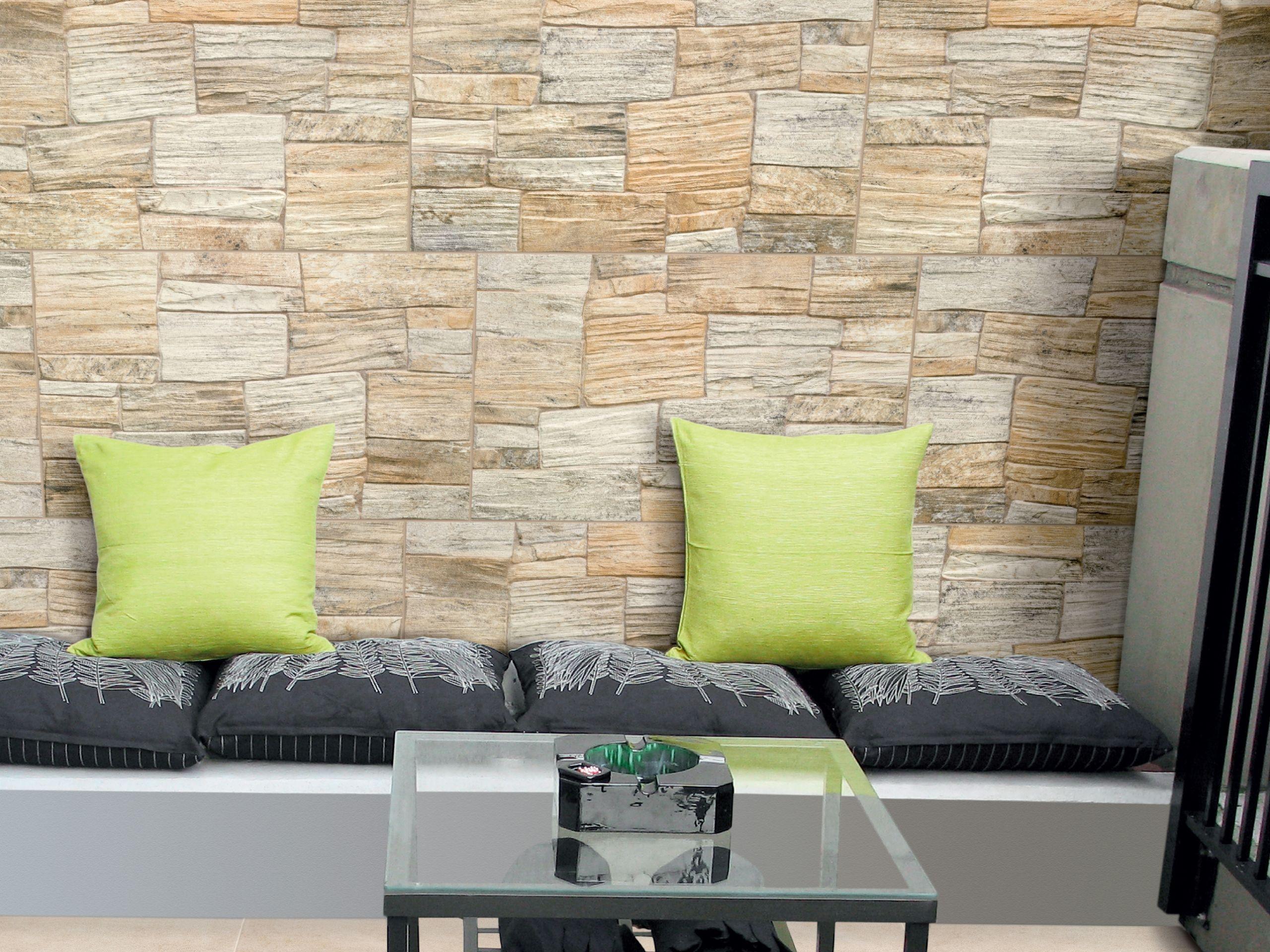 Revestimiento de pared de gres porcel nico imitaci n - Piedras decorativas para pared ...