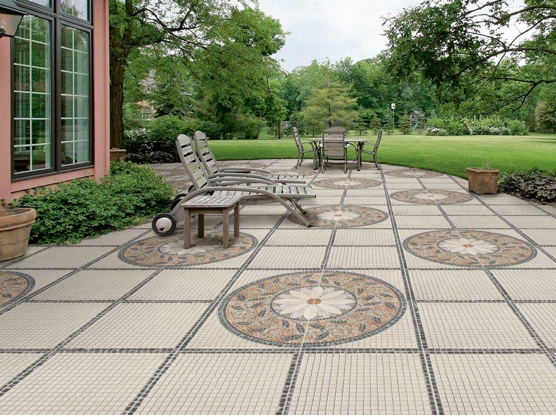 Porcelain stoneware outdoor floor tiles trevi by realonda for Garden decking squares