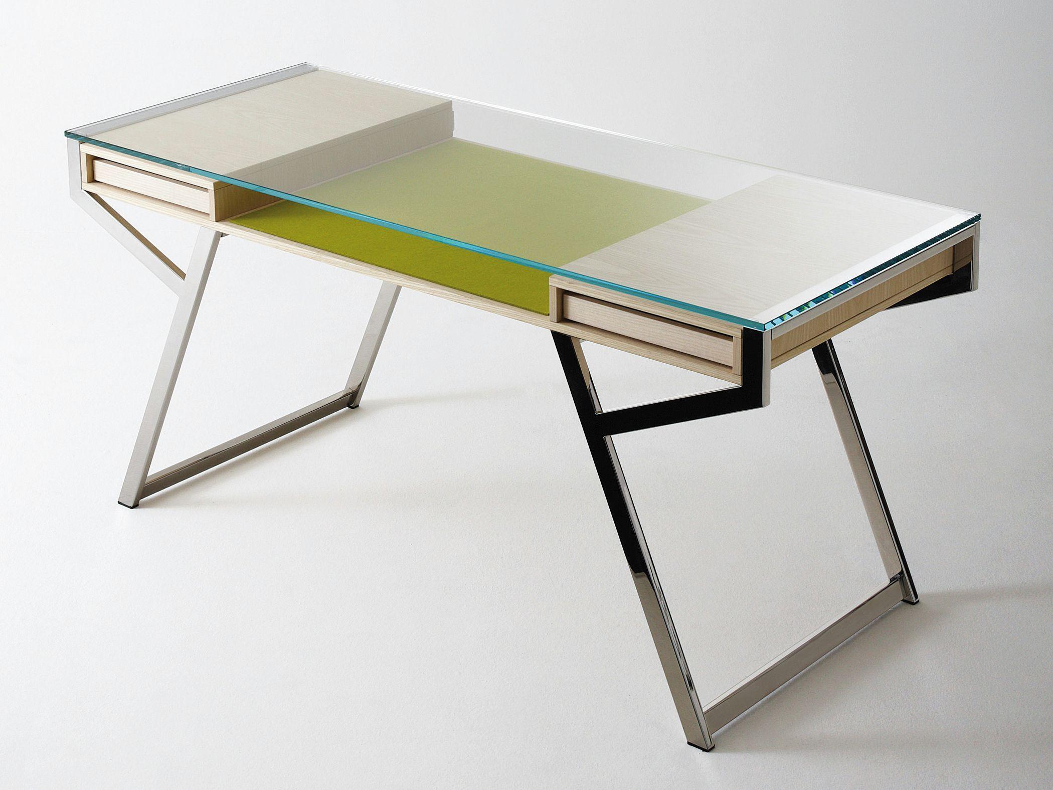 Escritorio de cristal con cajones lu by gallotti radice - Disenos de escritorios ...