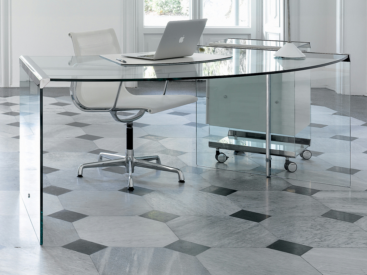 Crystal office desk president senior junior by gallotti radice for Escritorio de vidrio