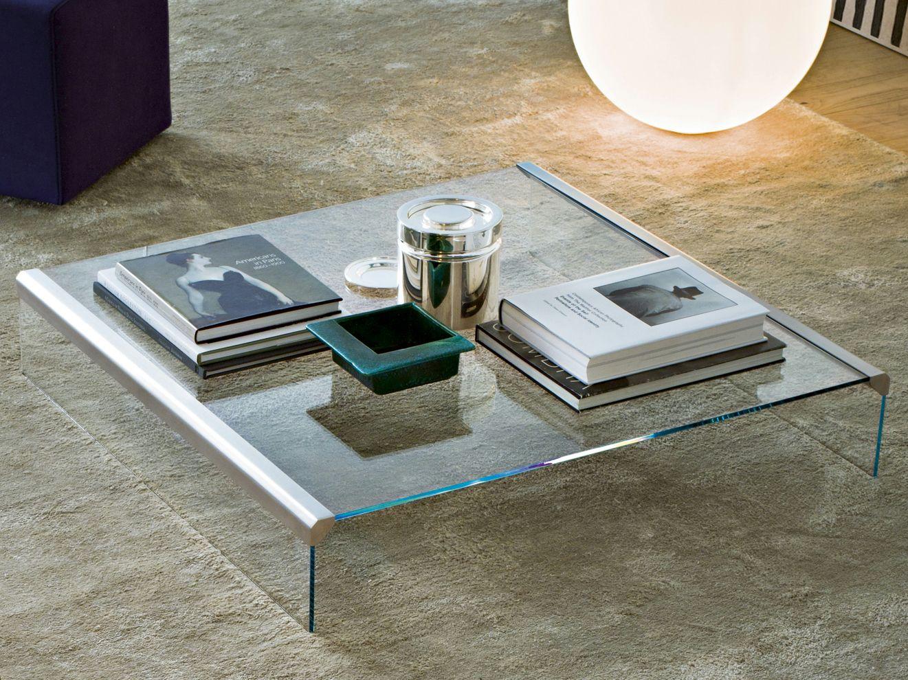 Tavolino basso in cristallo t 33 tavolino quadrato by for Tavolini cristallo