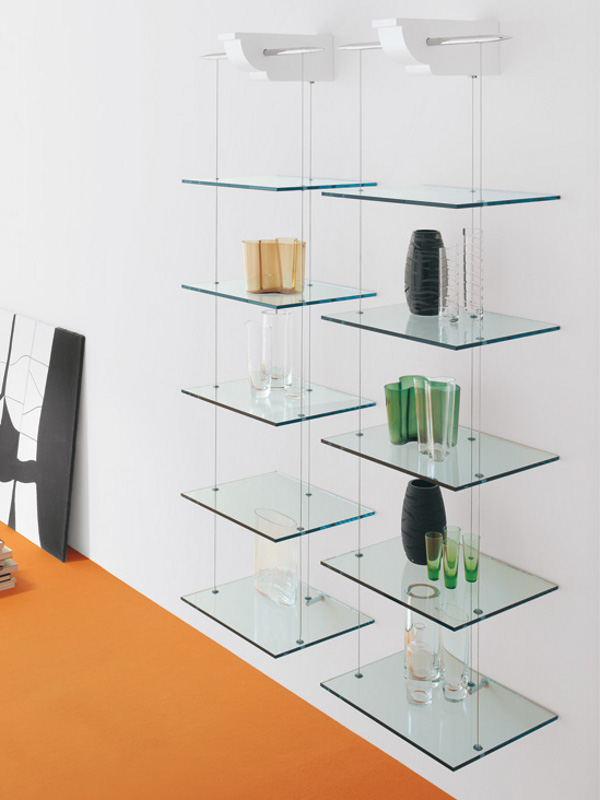 Libreria a parete in cristallo nuvola by cattelan italia for Libreria acciaio e vetro
