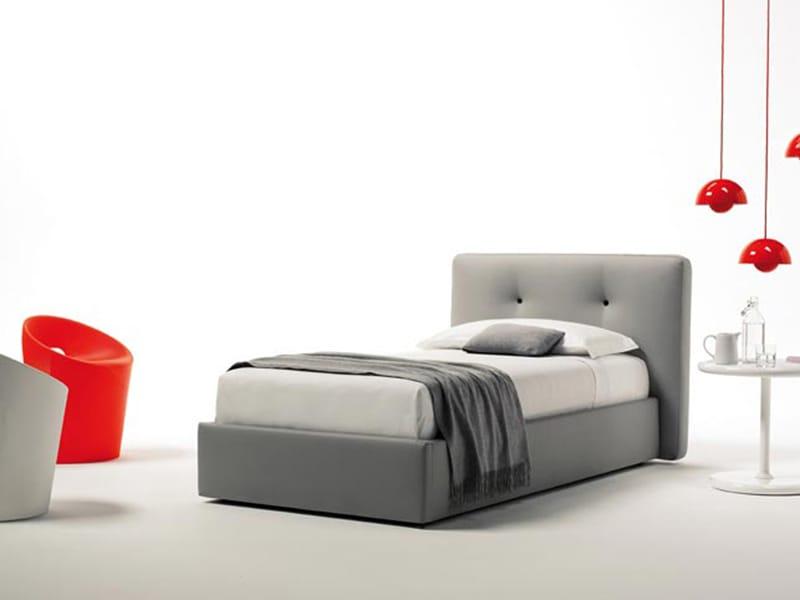 Letto contenitore con testiera imbottita bouton by estel group design adp design - Testiera letto singolo imbottita ...