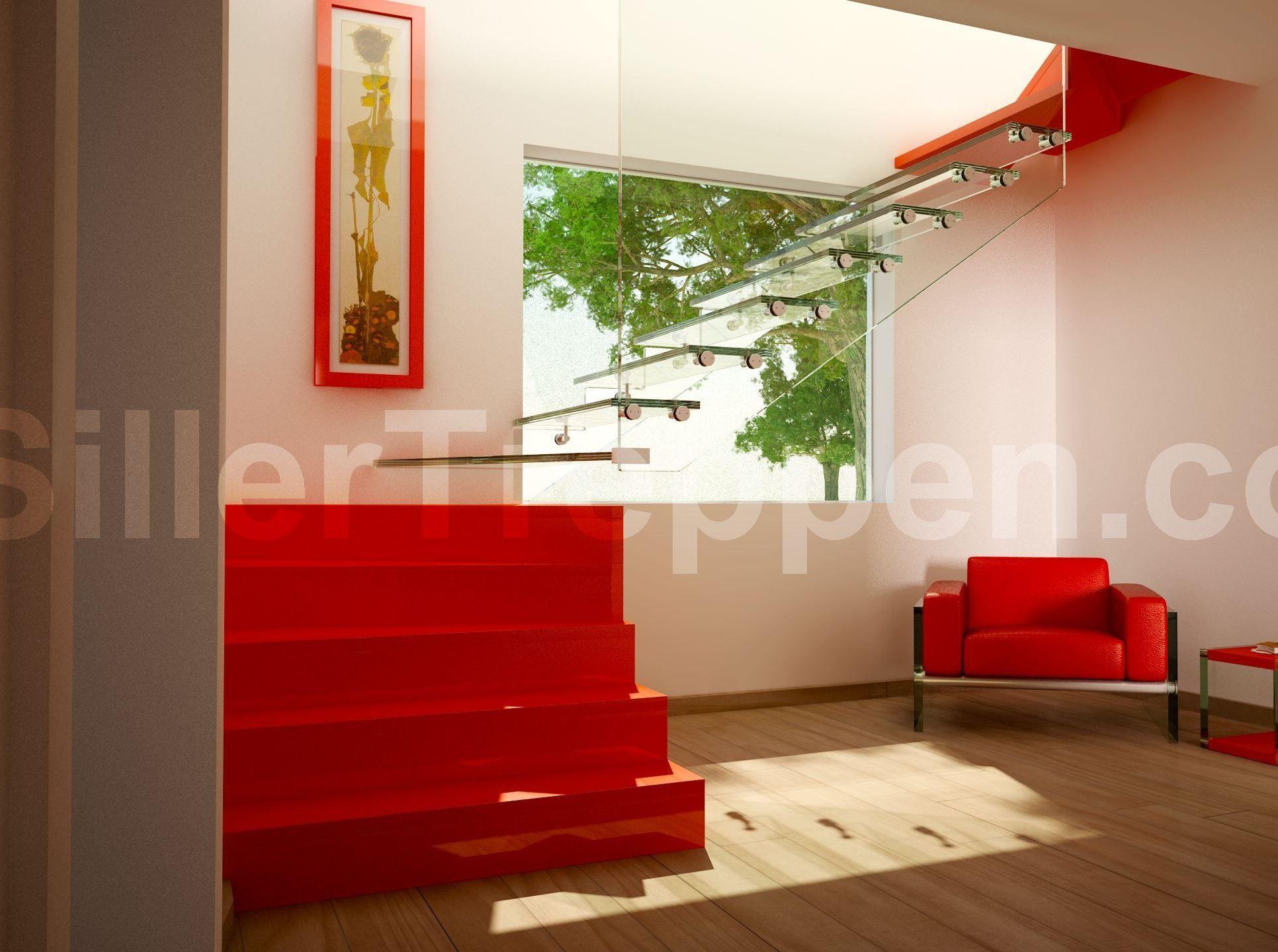 freitragende offene treppe aus edelstahl und glas stylemix. Black Bedroom Furniture Sets. Home Design Ideas