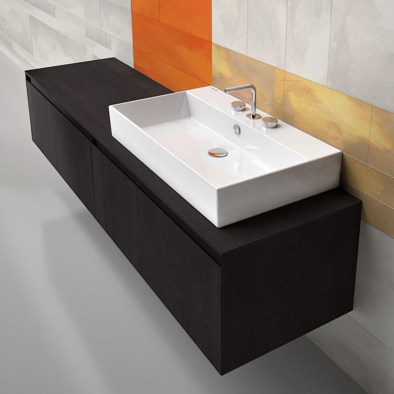 Lavabo rettangolare boiserie in ceramica per bagno - Boiserie in ceramica per bagno ...