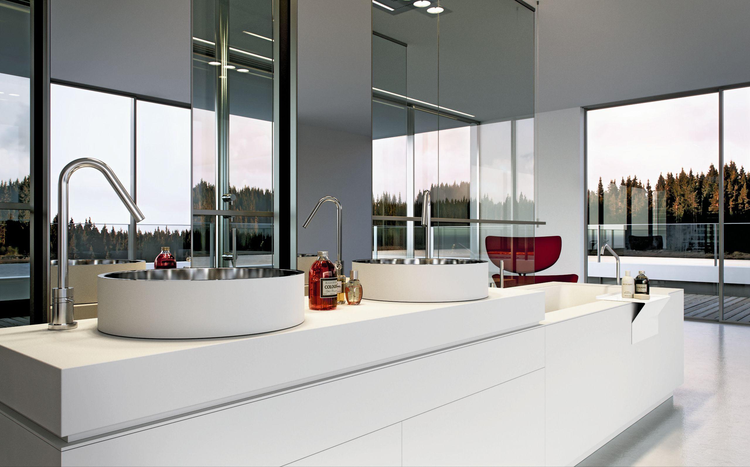 Casa de banho completa BANHEIRA LAVATÓRIO LINEAR 01 by MAKRO design  #67372E 2560 1596