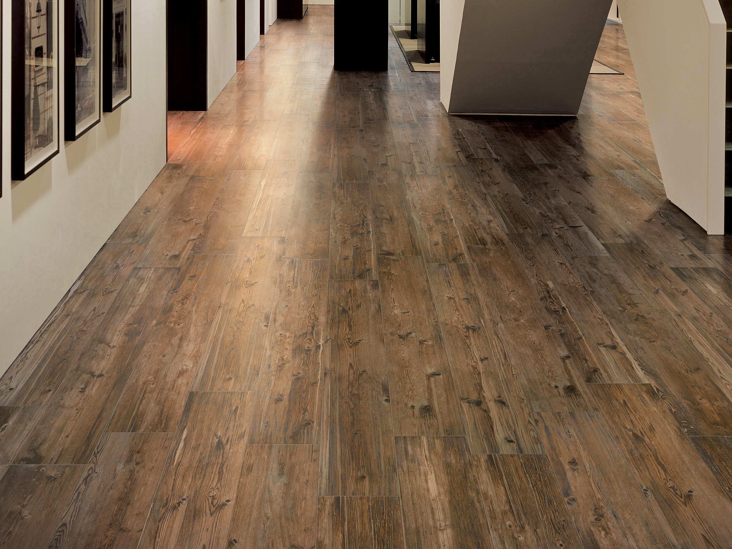 Porcelain stoneware flooring with wood effect larix by for Wooden floor tiles
