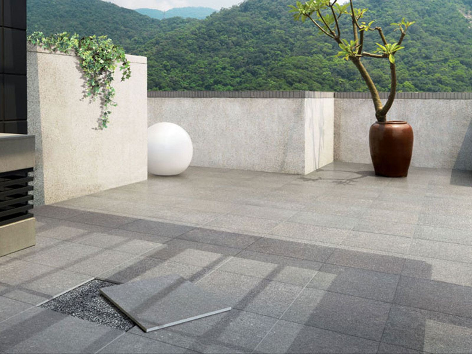 Porcelain stoneware outdoor floor tiles out 2 0 out 2 0 for Carrelage refin