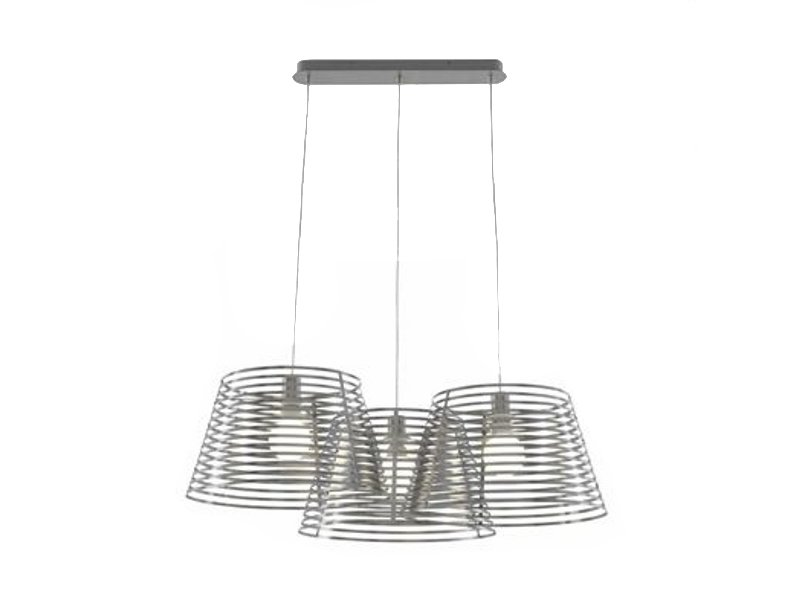 Steel pendant lamp stripes by roset italia design philippe for Suspension inox