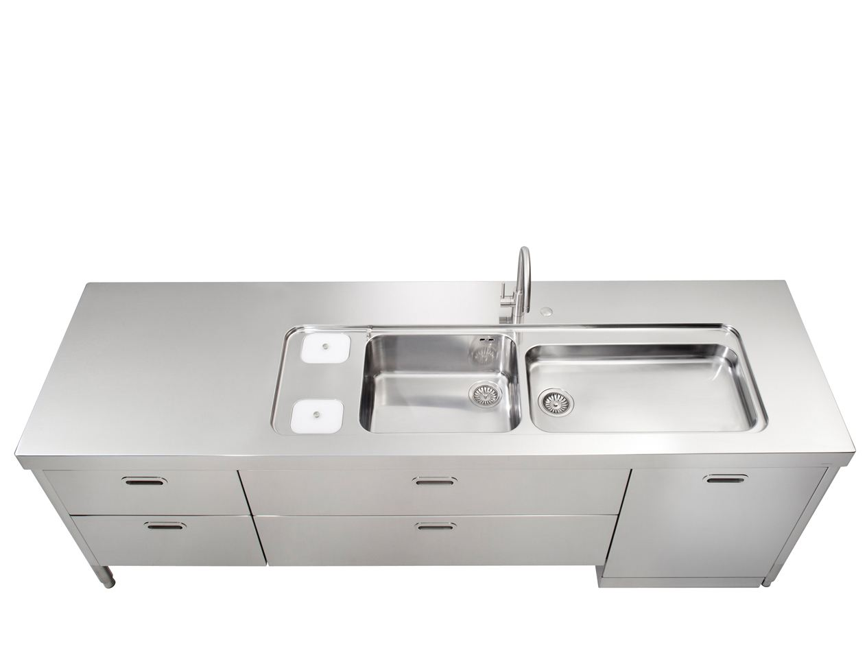 LIBERI IN CUCINA Kitchen unit with double sink by ALPES-INOX design ...