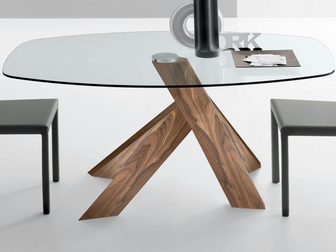 table de salon en noyer elipse by italy dream design. Black Bedroom Furniture Sets. Home Design Ideas