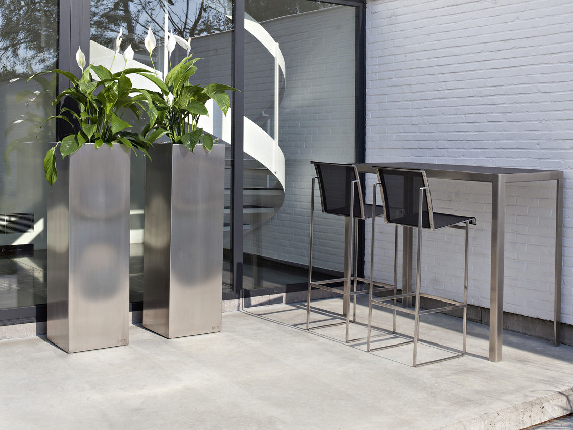 High Stainless Steel Planter Macetero By Fueradentro