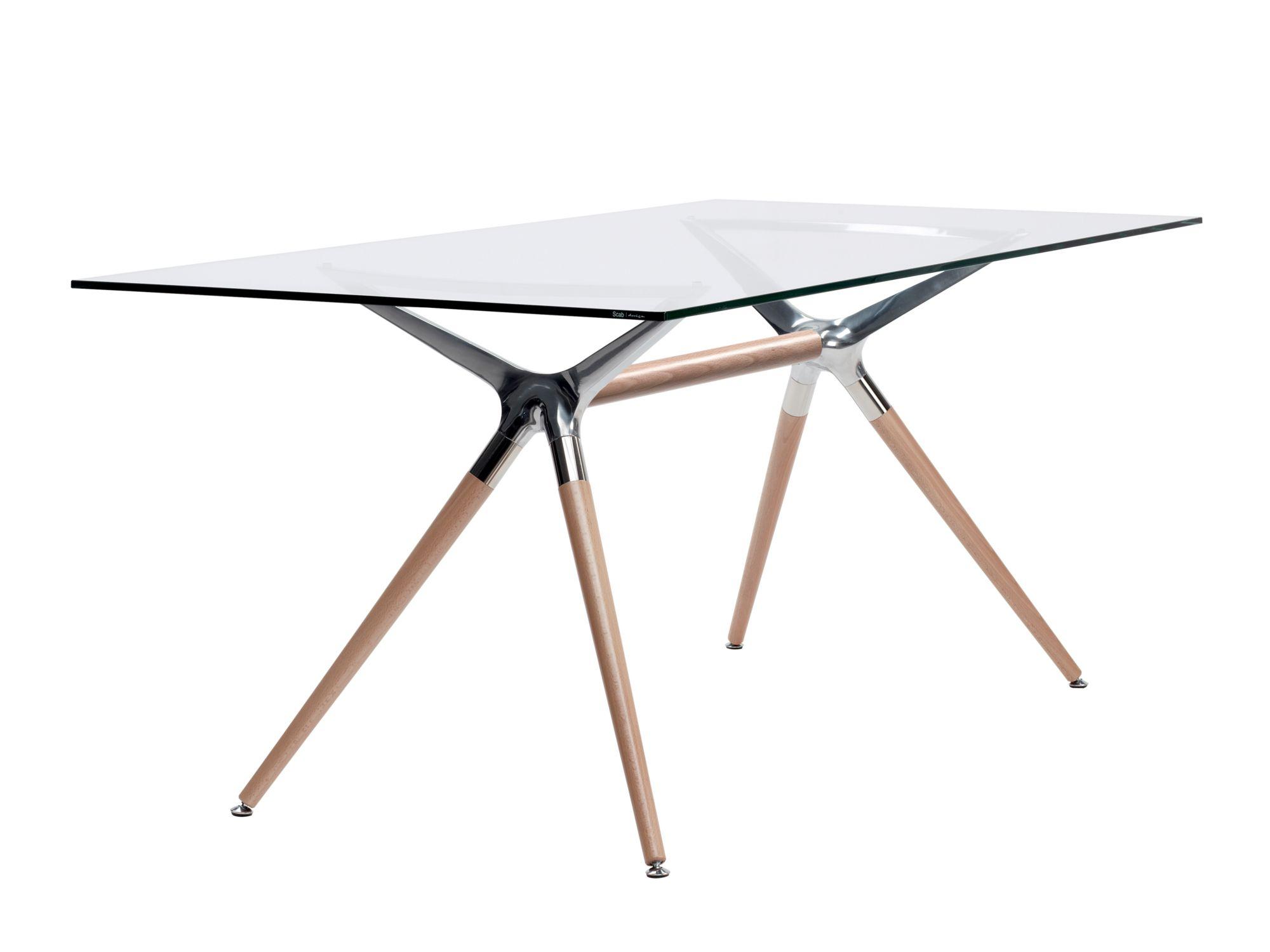 Table rectangulaire en verre tremp natural metropolis - Table rectangulaire design ...