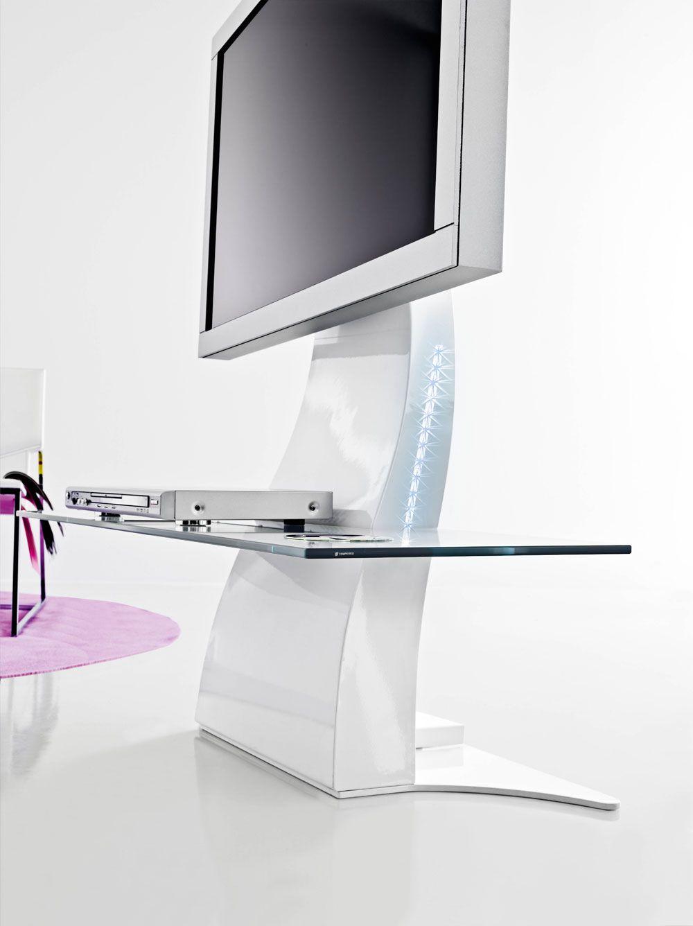 Mobile tv laccato orientabile in metallo trend by italy for Mobili tv design