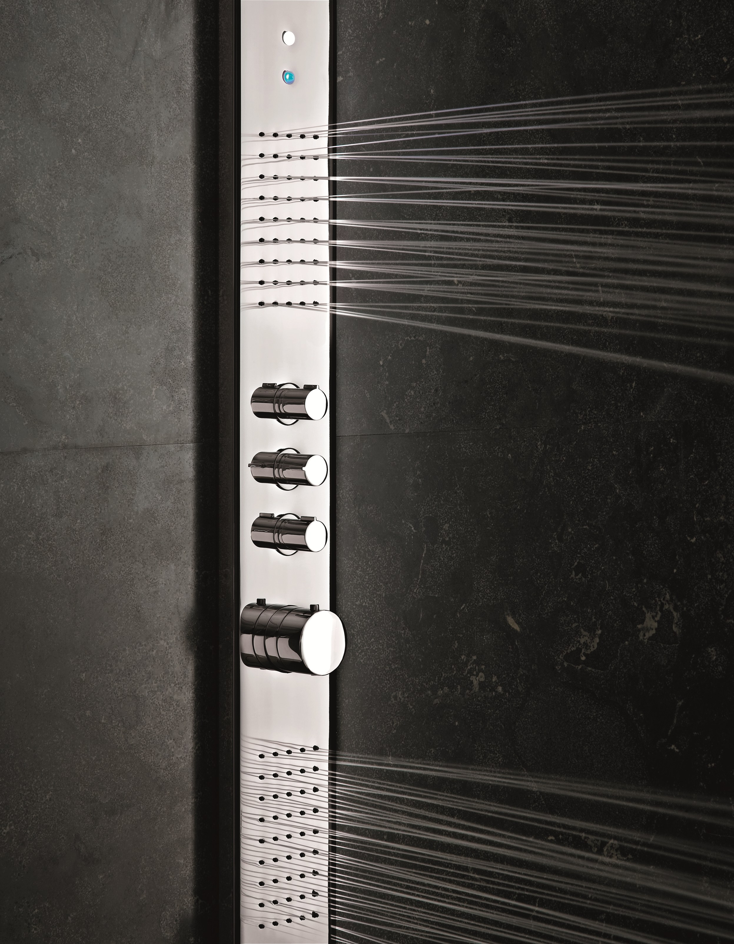 acquazzurra thermostatic shower panel by fantini rubinetti. Black Bedroom Furniture Sets. Home Design Ideas