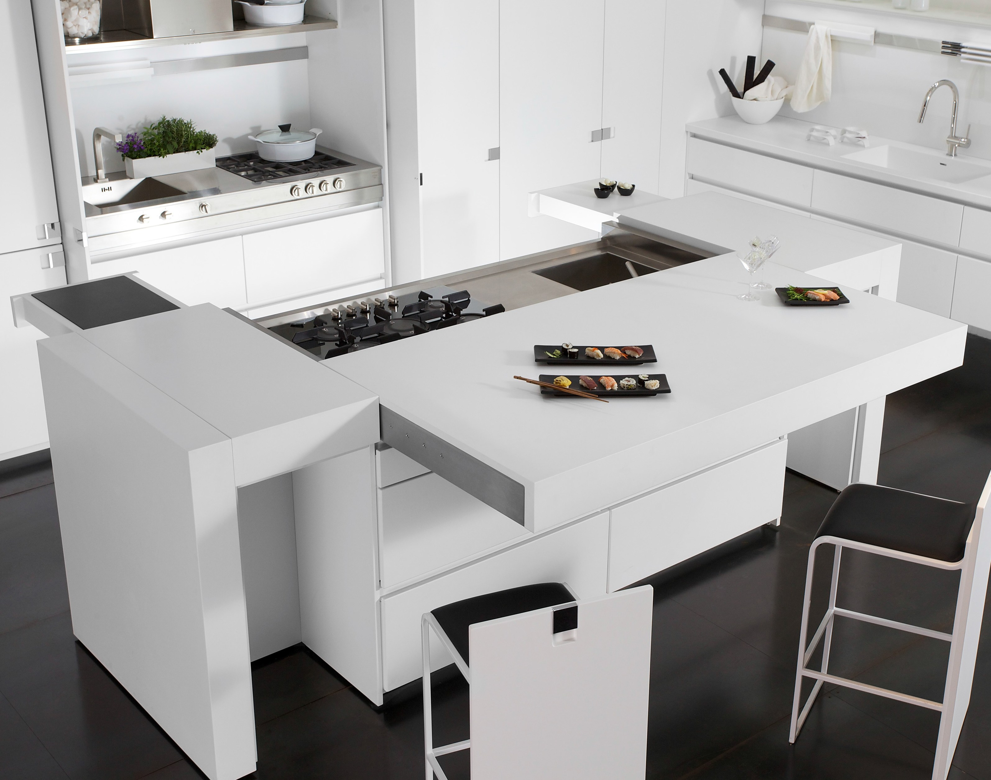 lacquered corian kitchen with island essential quadra by toncelli cucine design tommaso toncelli. Black Bedroom Furniture Sets. Home Design Ideas