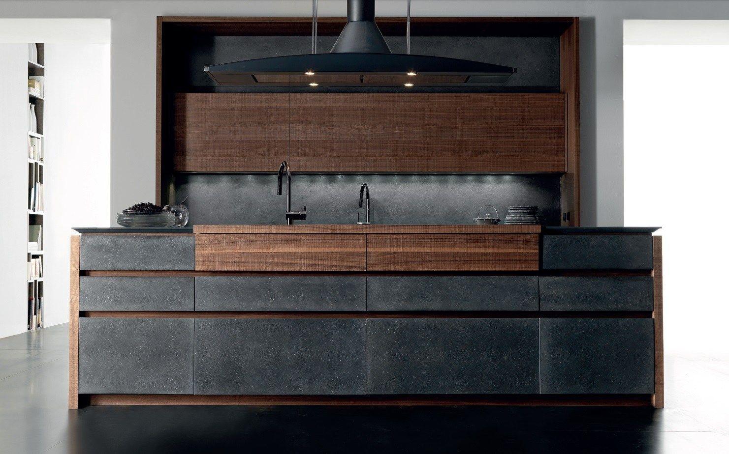 Cucina in cemento con isola wind cemento eta noir by - Cucine in cemento ...