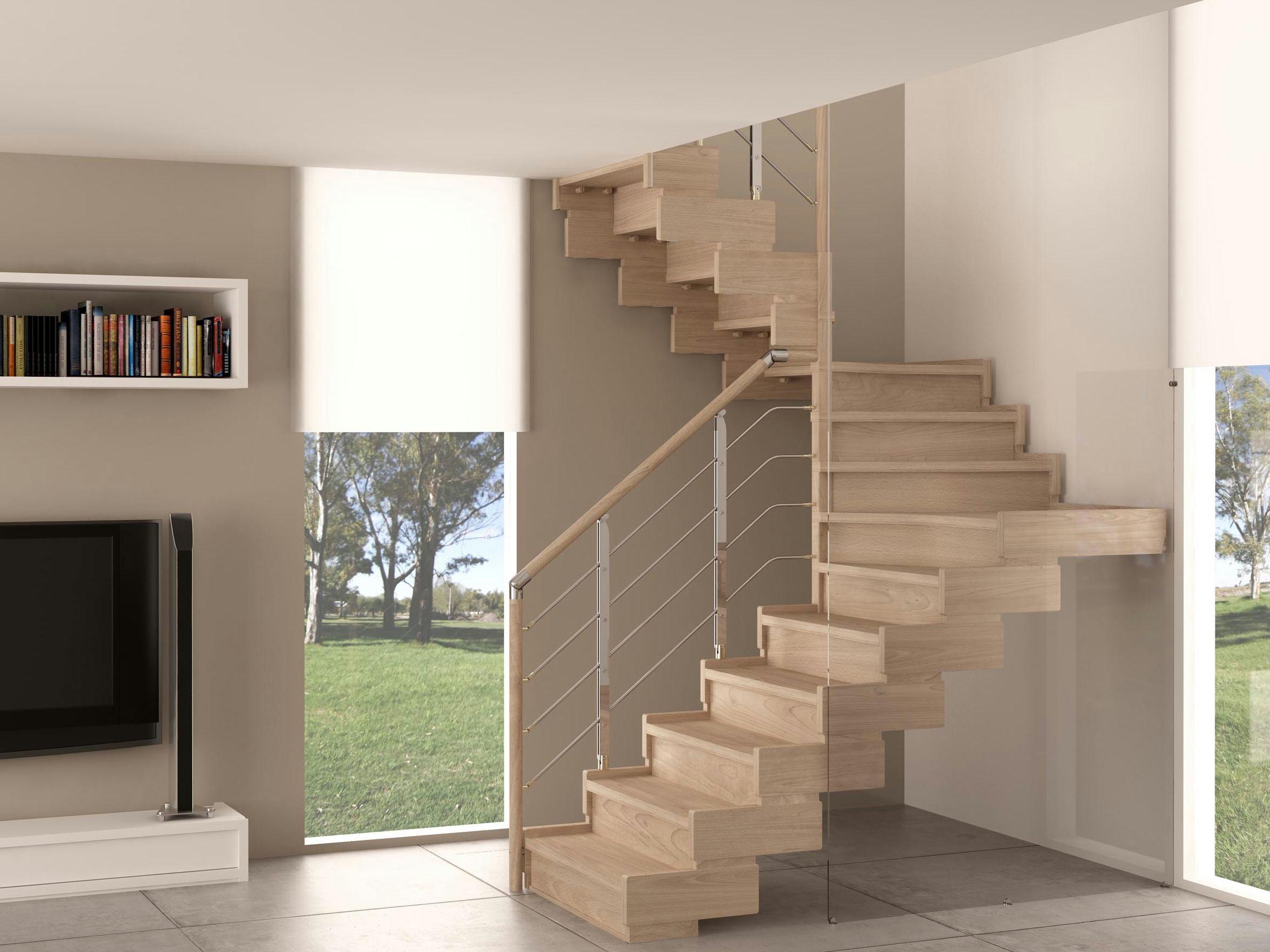 Escalera abierta de madera trasforma design by rintal for Escaleras rintal
