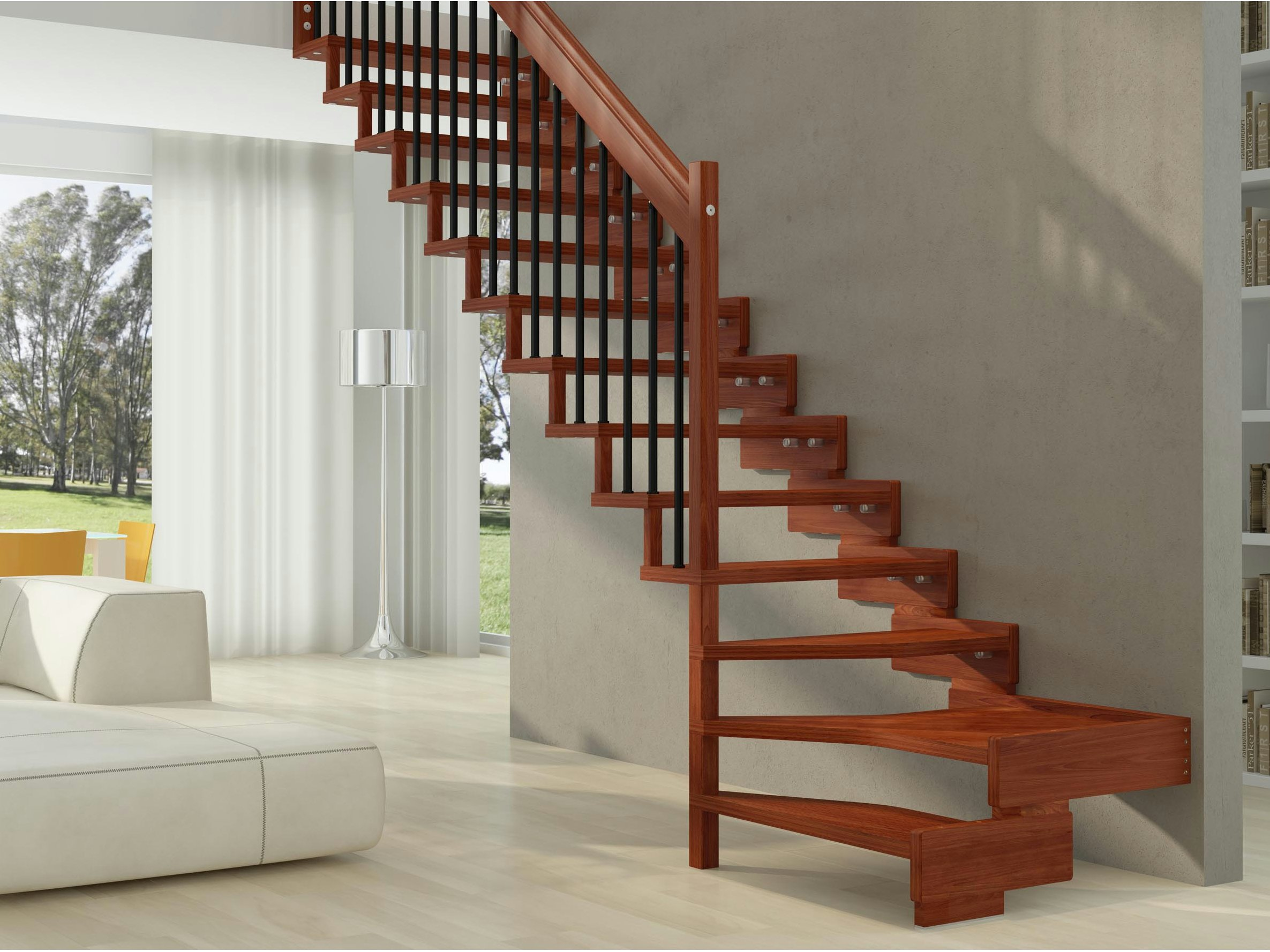 wooden open staircase trasforma design by rintal. Black Bedroom Furniture Sets. Home Design Ideas