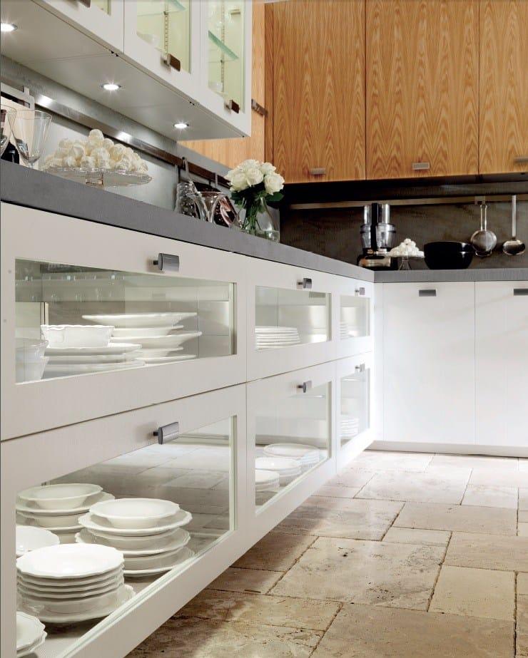 Cucina laccata in rovere con isola nant a rovere bianco by - Cucina rovere bianco ...