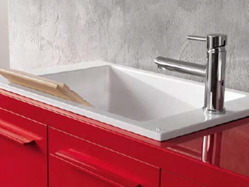 Piano lavabo singolo collezione compact by geromin for Geromin flexia