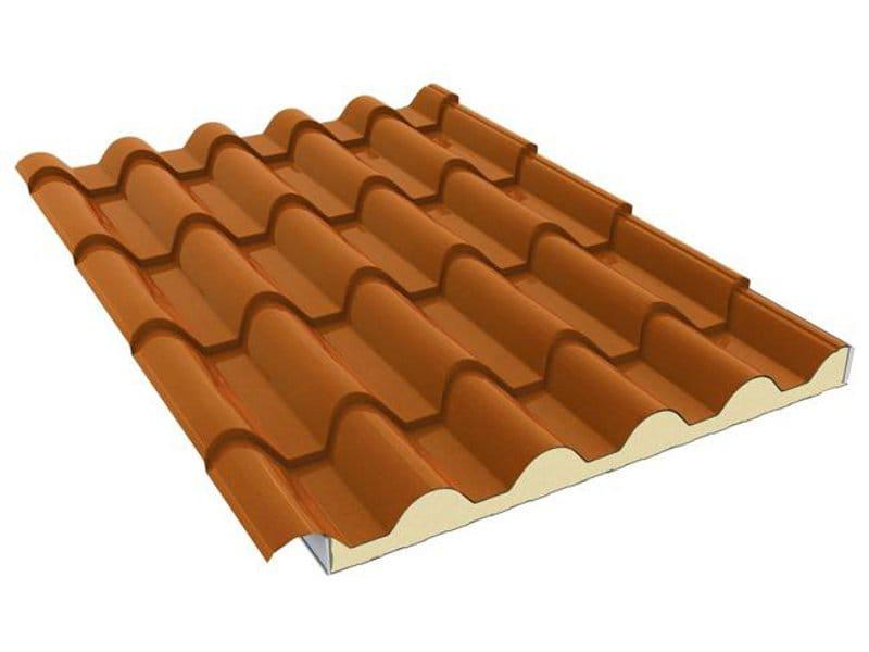 Pannello metallico coibentato per copertura italcoppo sp for Pannelli finto coppo coibentati prezzi